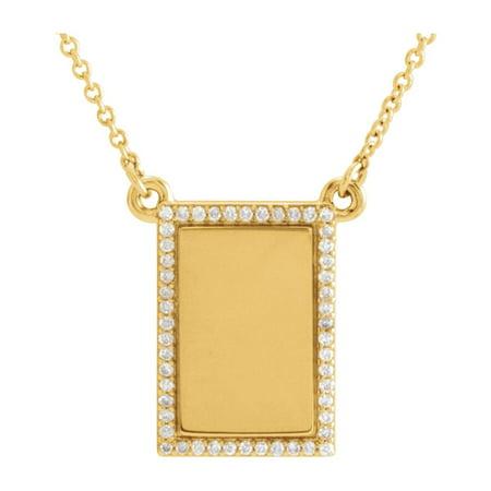 14k Yellow Gold 1/8 Ct Diamond Engravable Bar Necklace