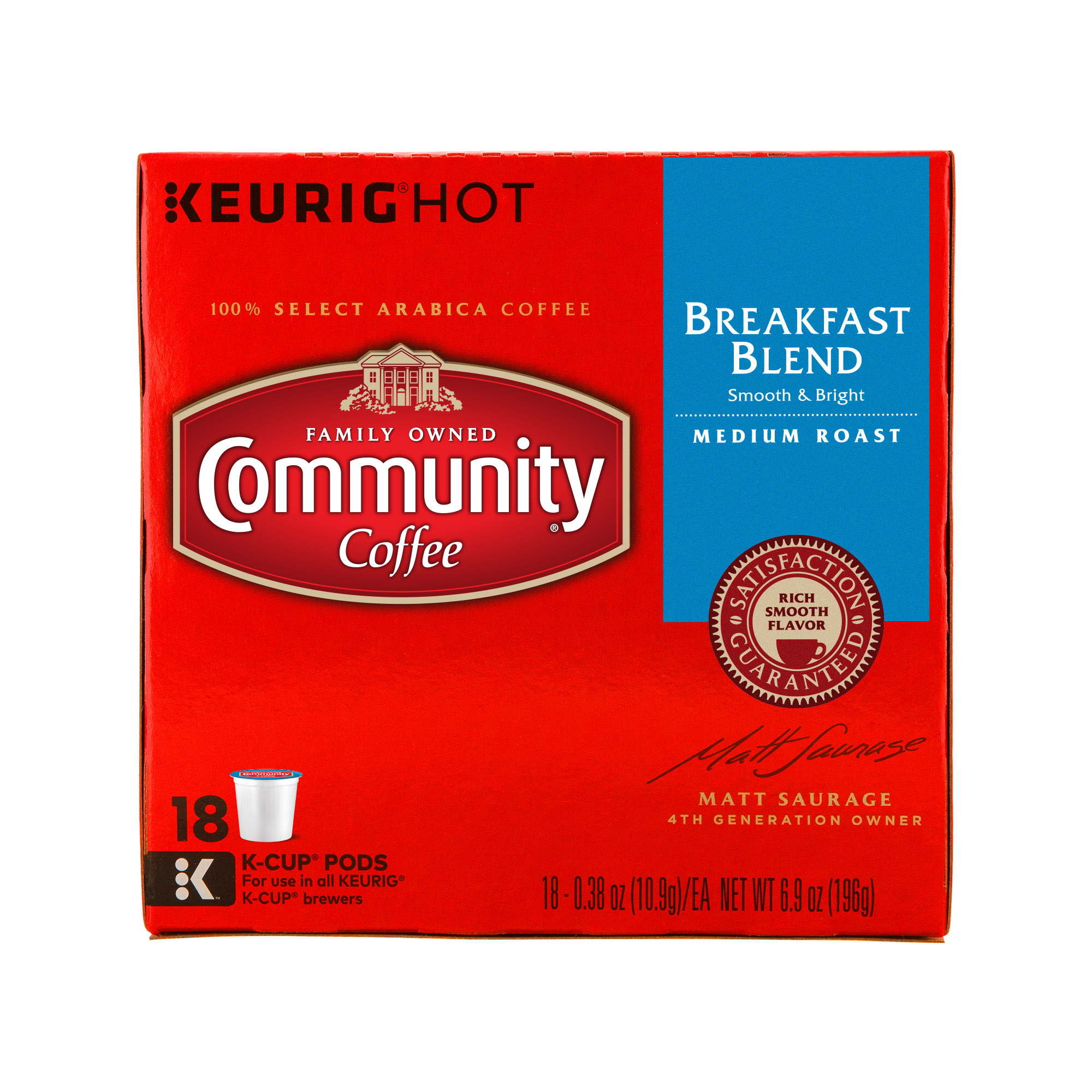 Community Coffee Single-Serve Cups Breakfast Blend Medium Roast Coffee, 18 Count