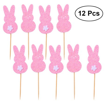 12pcs Cute Glitter Easter Rabbit Cake Picks Cake Toppers Cake Decorating Supplies for Easter Birthday Party Favors (Pink)