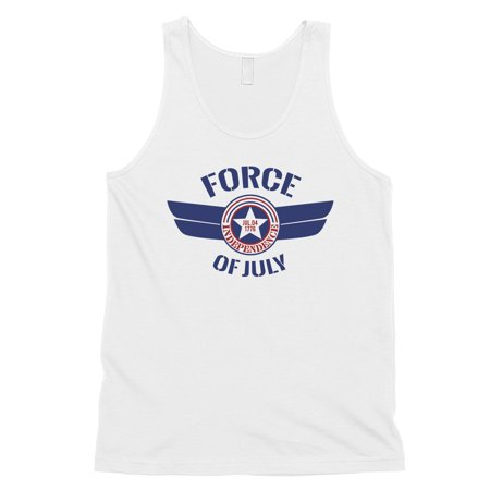 Force Of July Mens White US Airforce Tank Top Gym Gift 4th of July ()