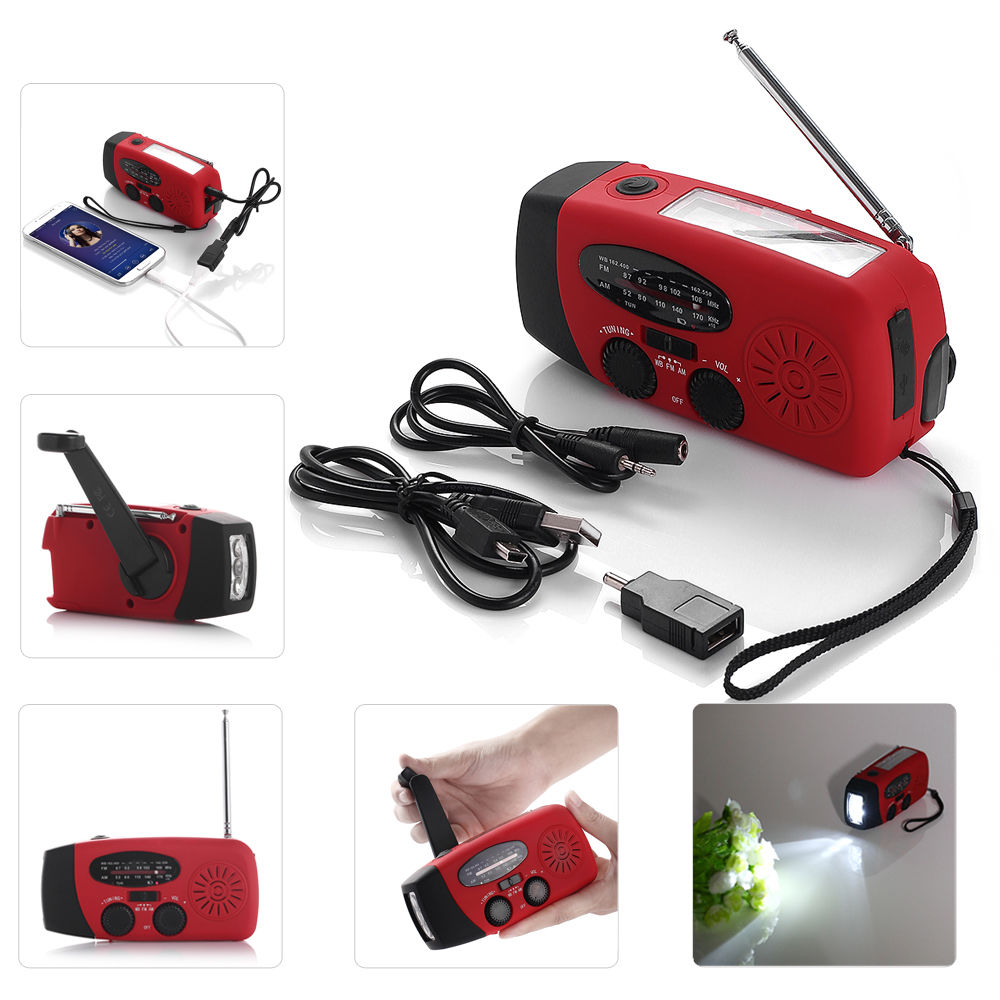 Weather Alert Radio AM FM WB Alert Emergency Radio Solar Hand Crank Dynamo LED Flashlight Charger Weather Alert Radio, Red by Poweradd