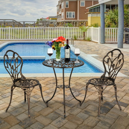 European Style Cast Aluminum Outdoor 3 Piece Tulip Bistro Set of Table and Chairs Bronze ()