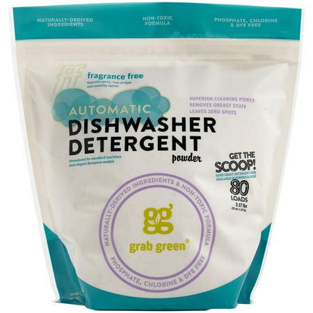 Grab Green Natural Automatic Dishwashing Powder Detergent, Fragrance Free, 80