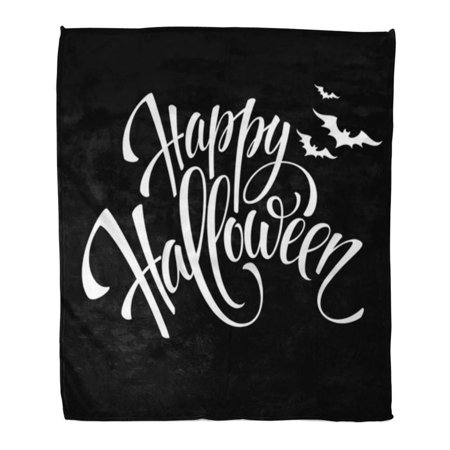 KDAGR Throw Blanket Warm Cozy Print Flannel Gray Text Happy Halloween Message Party Pumpkin Comfortable Soft for Bed Sofa and Couch 50x60 Inches - Halloween Safety Message