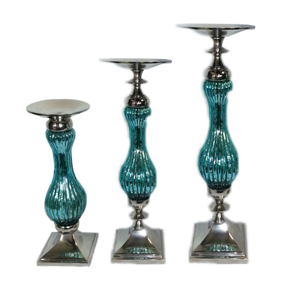 Elegant 3pc Pillar Candle Holder - Benzara