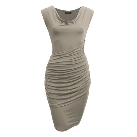 - MBJ Womens Cowl Neck Sleeveless Pleats Detail Dress M TAUPE