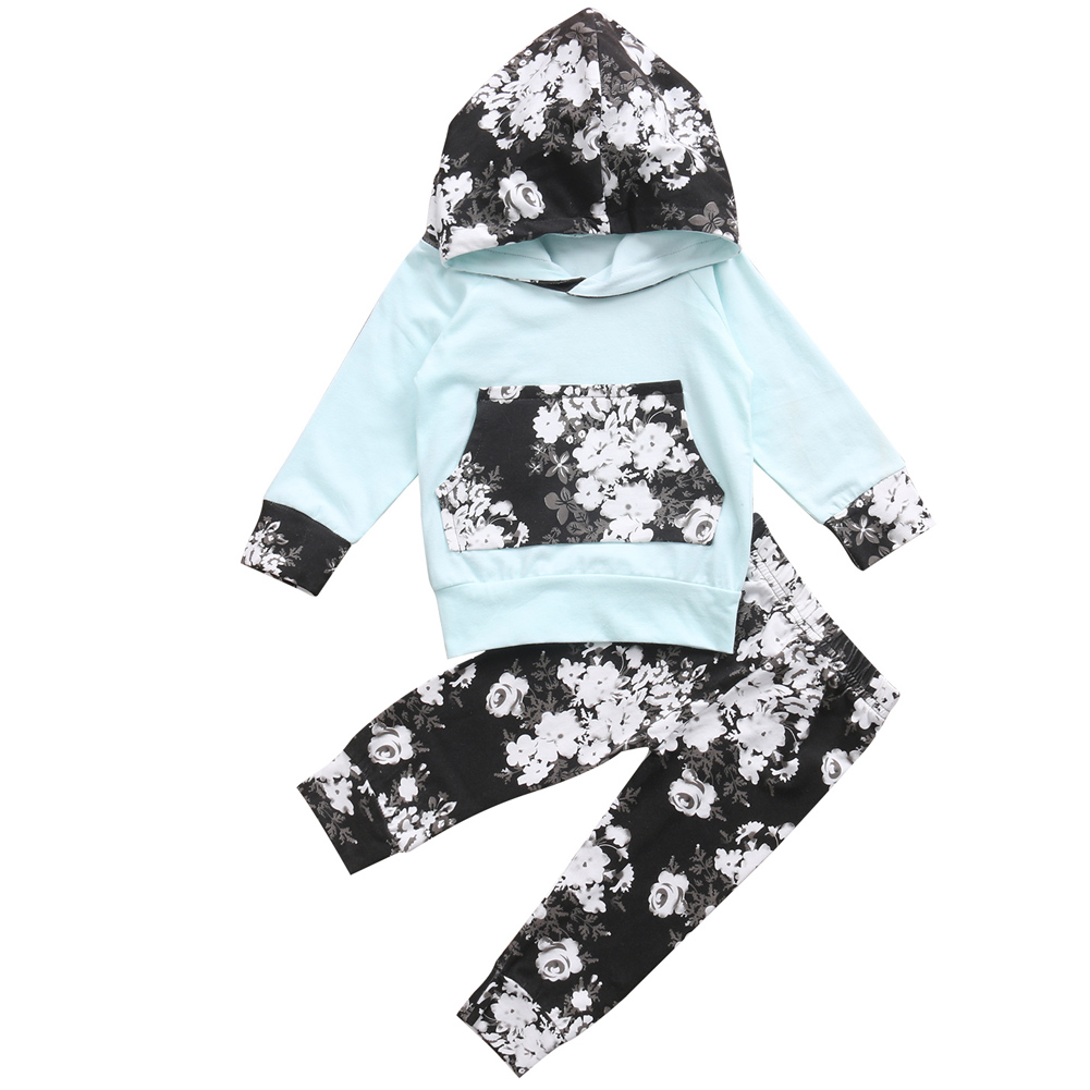 Infant Baby Girl Floral Hoodie Outfits Long Sleeve Jumper With Pant Clothing Set