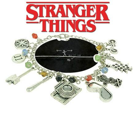 Stranger Things Eleven Charm Bracelet TV Show Series Jewelry Multi Charms - Wristlet - Superheroes Brand Netflix Collection - Netflix Halloween