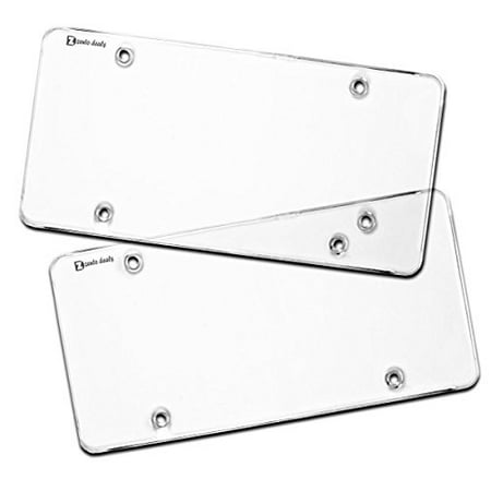 Zento Deals Flat Clear License Plate Cover - 2 Pack of Heavy-Duty All Waether License Plate Shield that Fits All Standard 6x12 Inches License Plate (License Plate Protector)