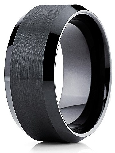 10mm Tungsten Ring 10mm Tungsten Band with Beveled Edge Electric Guitar Logo Ring