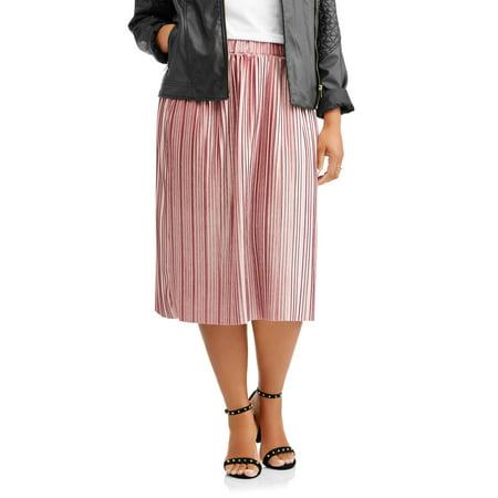 Women's Plus Pleated Velour Flowy Midi Skirt - Plus Size Hippie Skirts