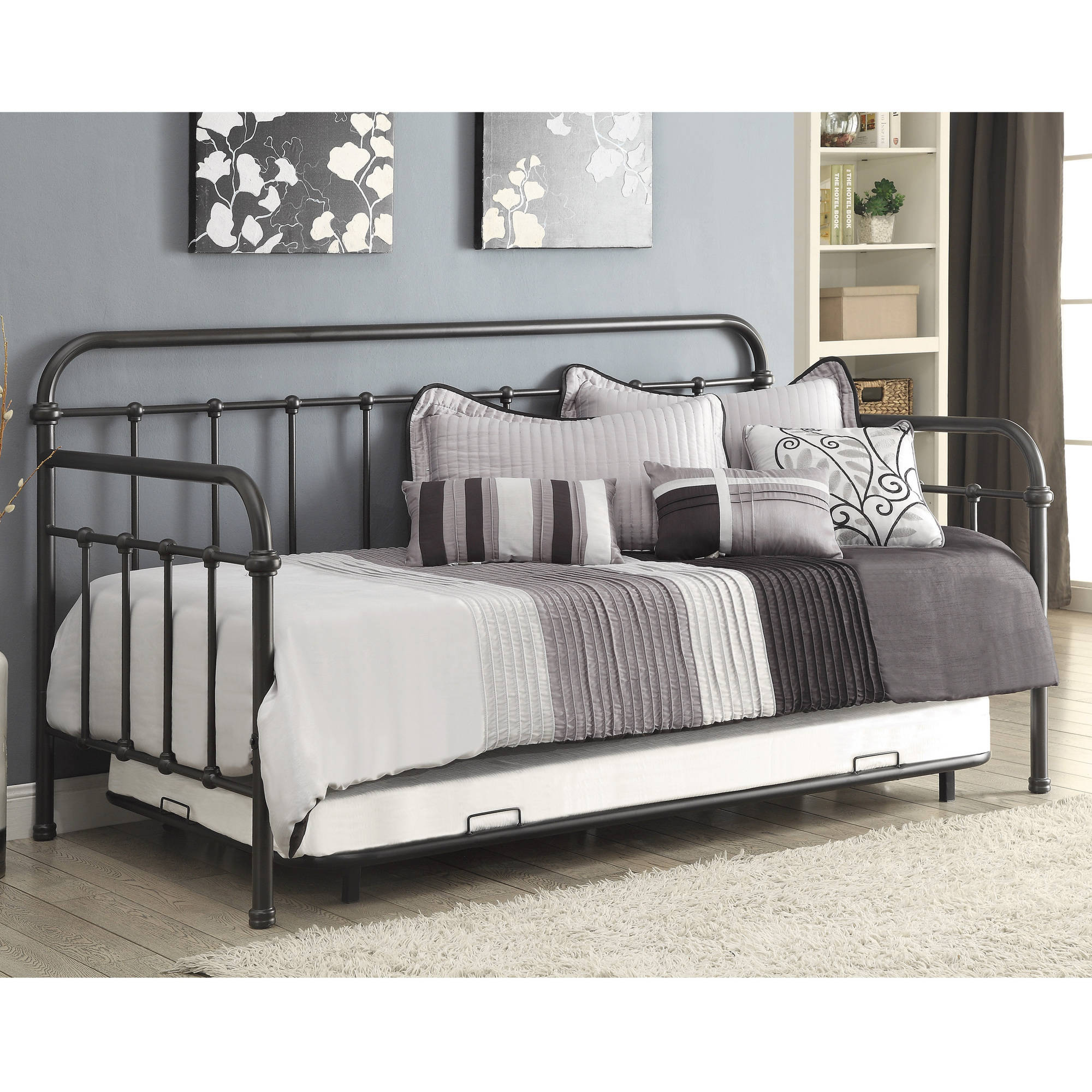 Coaster Metal Twin Day Bed and Trundle in Dark Bronze Finish by Coaster Company