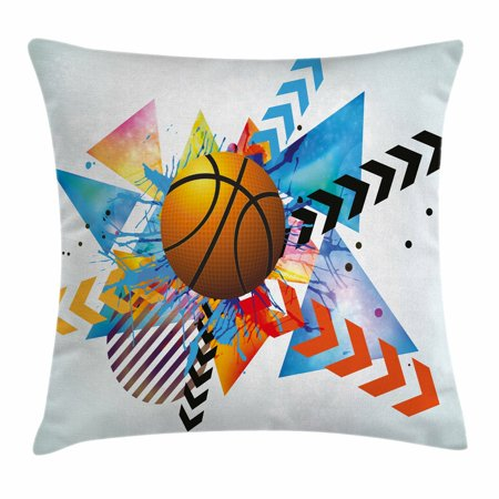 Basketball Pillow (Teen Room Decor Throw Pillow Cushion Cover, Basketball in front of Zigzag Circular Geometric Minimalist Forms Graphic, Decorative Square Accent Pillow Case, 18 X 18 Inches, Multicolor, by Ambesonne )