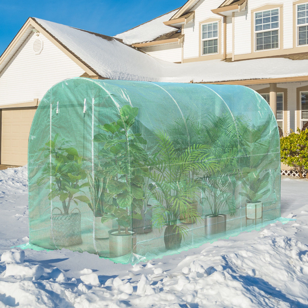 Costway 11.5'X 6.5'X6.5' Walk-in Greenhouse Steel Frame Backyard Grow Tents 6 Windows