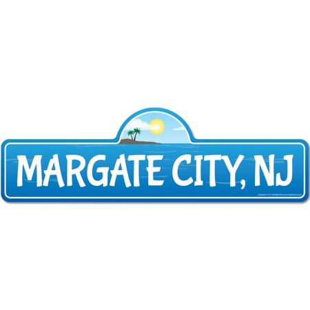 Margate City, NJ New Jersey Beach Street Sign | Indoor/Outdoor | Surfer, Ocean Lover, Décor For Beach House, Garages, Living Rooms, Bedroom | Signmission Personalized Gift - Party City Nj