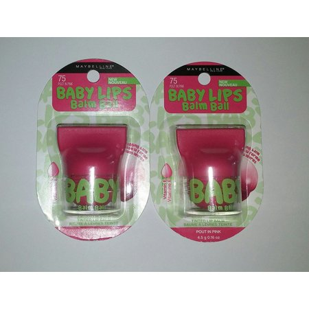 Maybelline Baby Lips Balm Ball POUT IN PINK 75 (Pack of 2) By Maybelline New