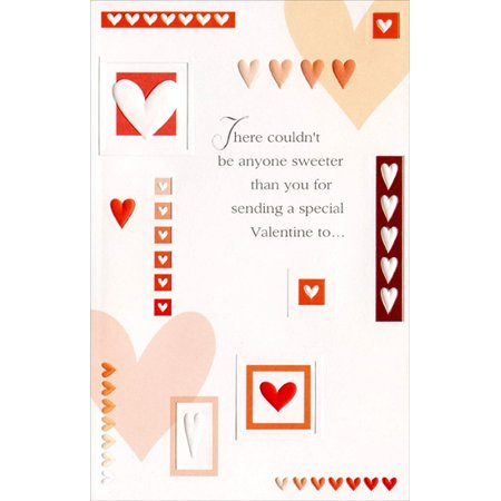Freedom Greetings Bordered Hearts and Rows Valentine's Day Card