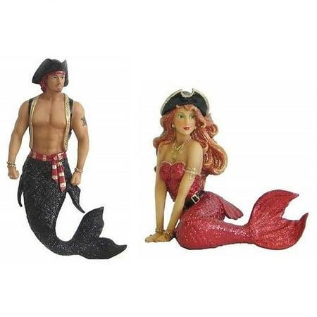 December Diamonds Sebastian and Scarlet Pirate Merman Mermaid Ornament Set of 2