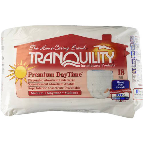Tranquility Premium DayTime Medium Disposable Absorbent Underwear, 18 count