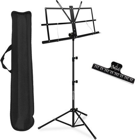 Music Stand, Kasonic Professional Collapsible Orchestra Portable and Light weight with Music Sheet Clip Holder & Carrying Bag Suitable for Instrumental Performance ()