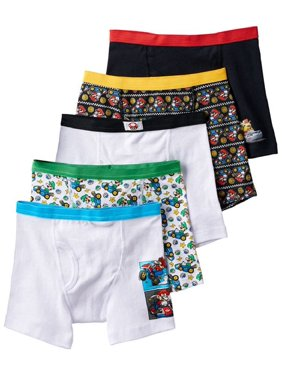 Nintendo Super Mario Bros., Boys Underwear, 5 Pack Boxer Briefs (Little Boys & Big Boys)
