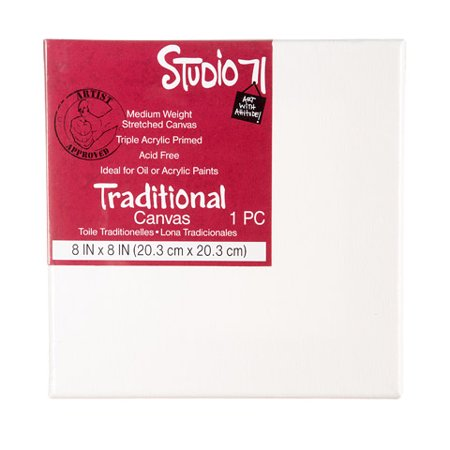 Darice Studio 71 - Traditional Canvas - Medium Weight - Primed - 8x8 inches