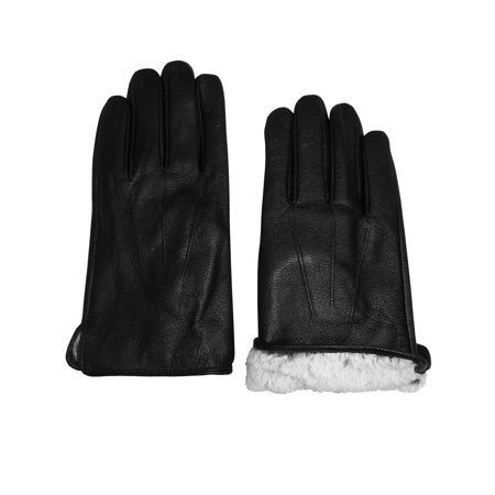 NICE CAPS Mens Adults Genuine Leather Black Gloves With Plush Lining And Tucked Trim - For Winter Cold Weather Outdoors