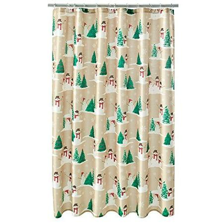 Snowman Toss Fabric Christmas Shower Curtain