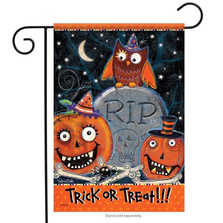 Kooky Spooky Halloween Garden Flag Happy Owl Trick or Treat 2 Sided 12.5