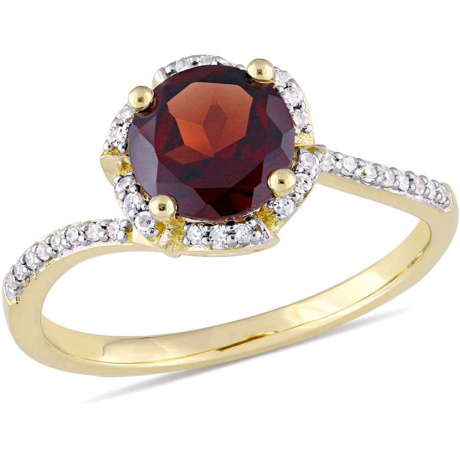Tangelo 1-5 8 Carat T.G.W. Garnet and 1 10 Carat T.W. Diamond 14kt Yellow Gold Halo Ring by Tangelo