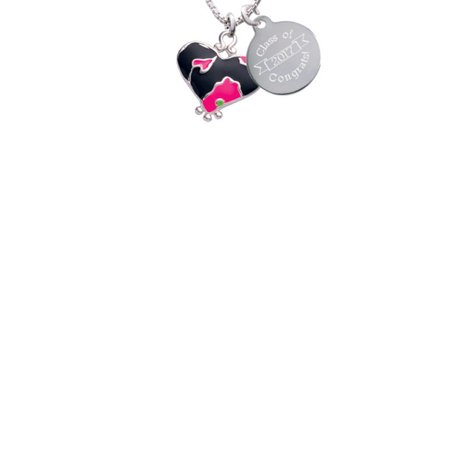 Silvertone Hot Pink Large Cheetah Print Heart Class Of 2017 Congrats Engraved Necklace (Pink Cheetah Print)