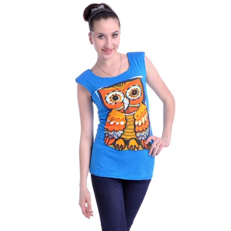S/M Fit Blue Wise & Cute Owl Large Print Graphic Front Fashion Shirt