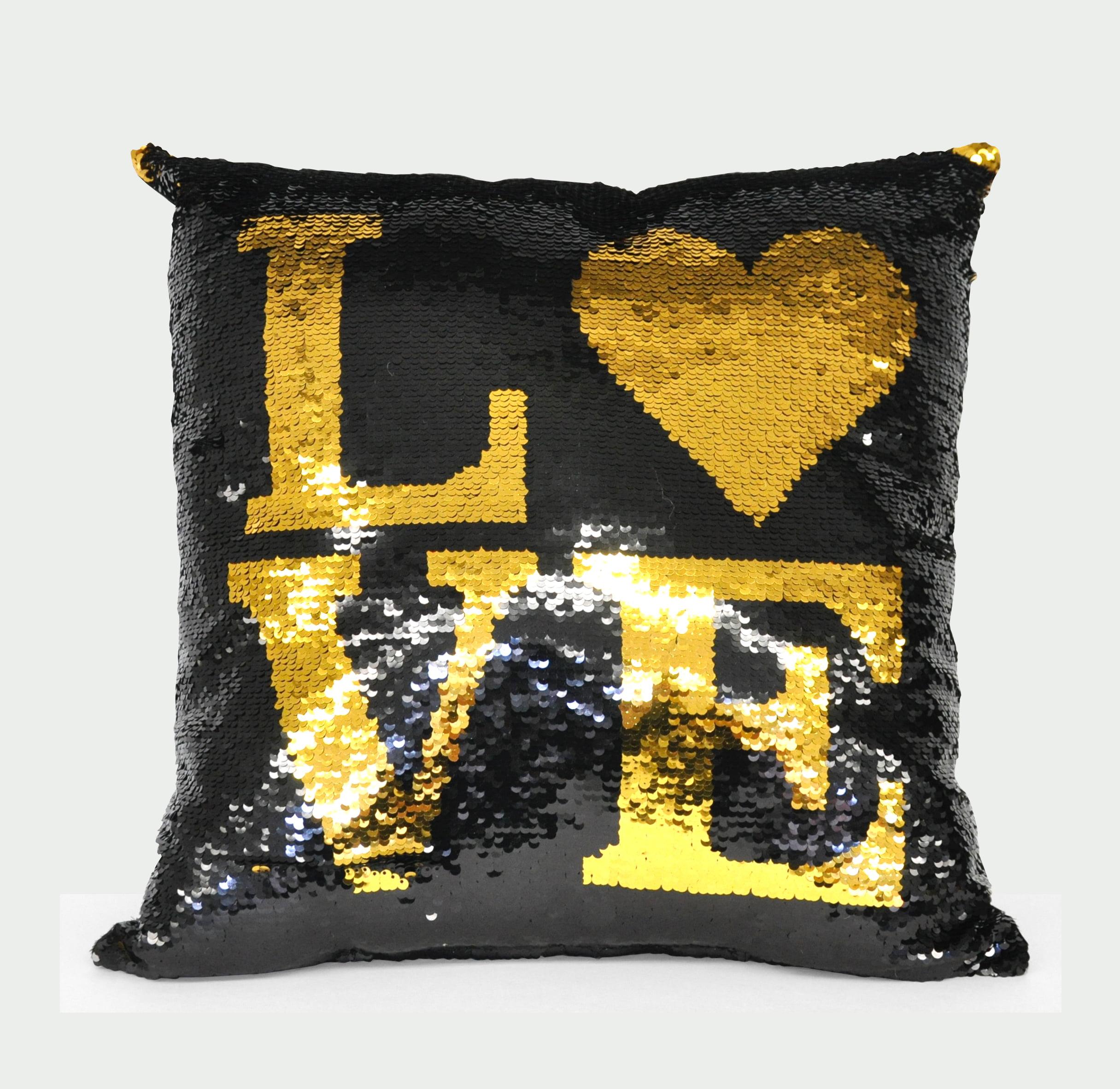 Mainstays Black Sparkle Lips Sequin Throw Pillow by Idea Nuova