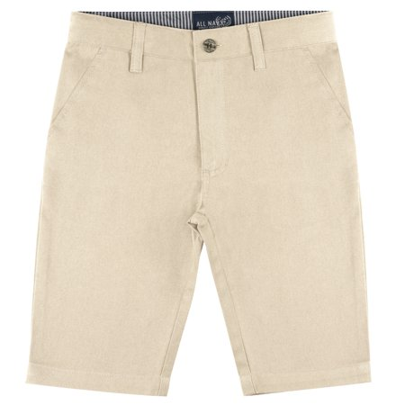 Buyless Fashion Boys Shorts Pants Flat Front Cotton Casual Straight Cut - Boys White Linen Shorts
