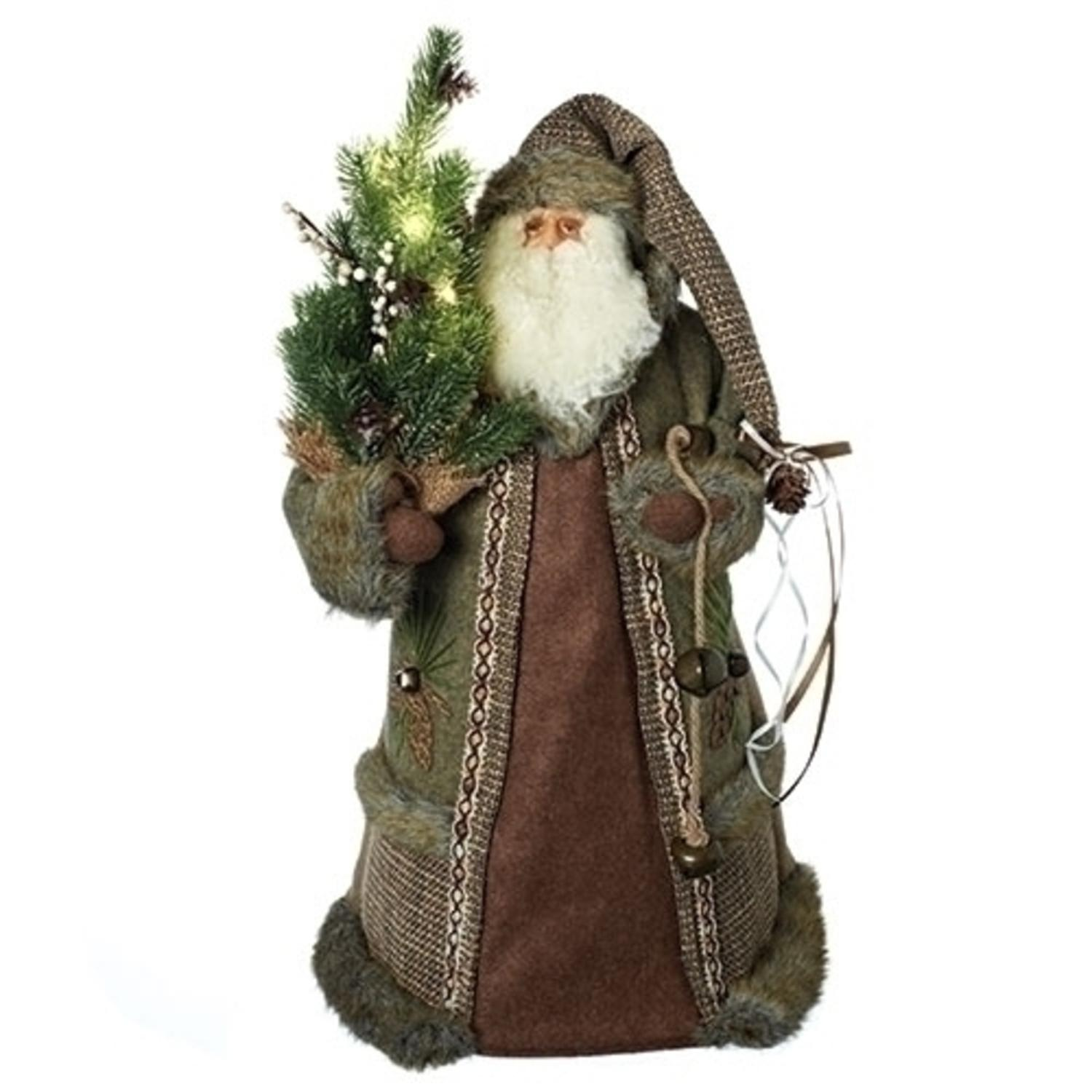 "22"" Battery Operated LED Rustic Santa Claus Pre- lit Christmas Tree Topper- Clear lights"