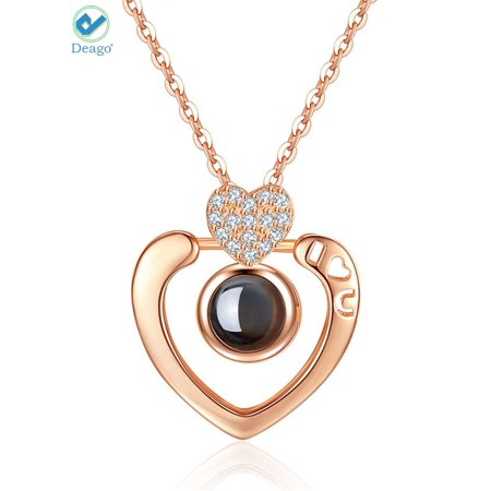 Deago Love Heart Pendant Chain Necklace for Women 100 Languages of I Love You Memory Necklace Best