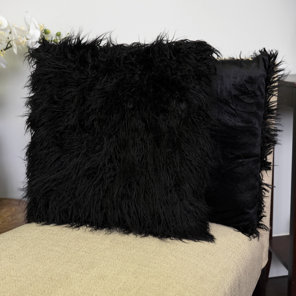 "Mongolian Long Hair Faux Fur Decorative Throw Pillow Pair 18"" x 18"" Asst Colors"