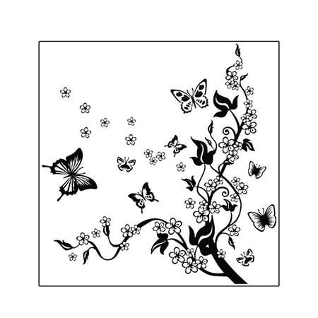 Butterfly Flower Pattern DIY Home Bedroom Decal Wall Decor Sticker ...