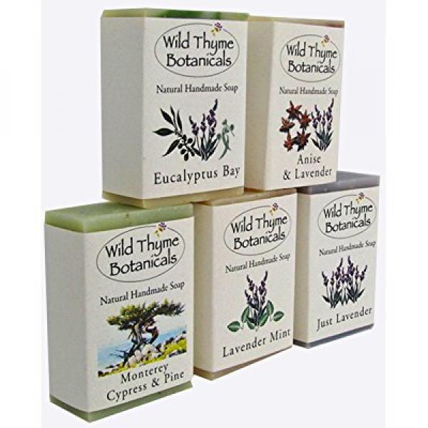 wild thyme botanicals natural handmade soap - 5 bar combo...