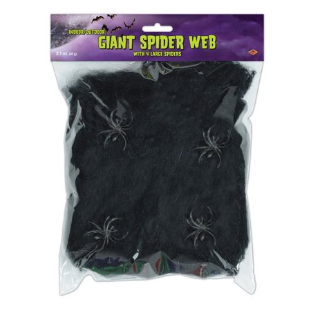 Club Pack of 12 Flame Resistant Giant Black Halloween Spider Web with Spiders - Halloween Party Clubs