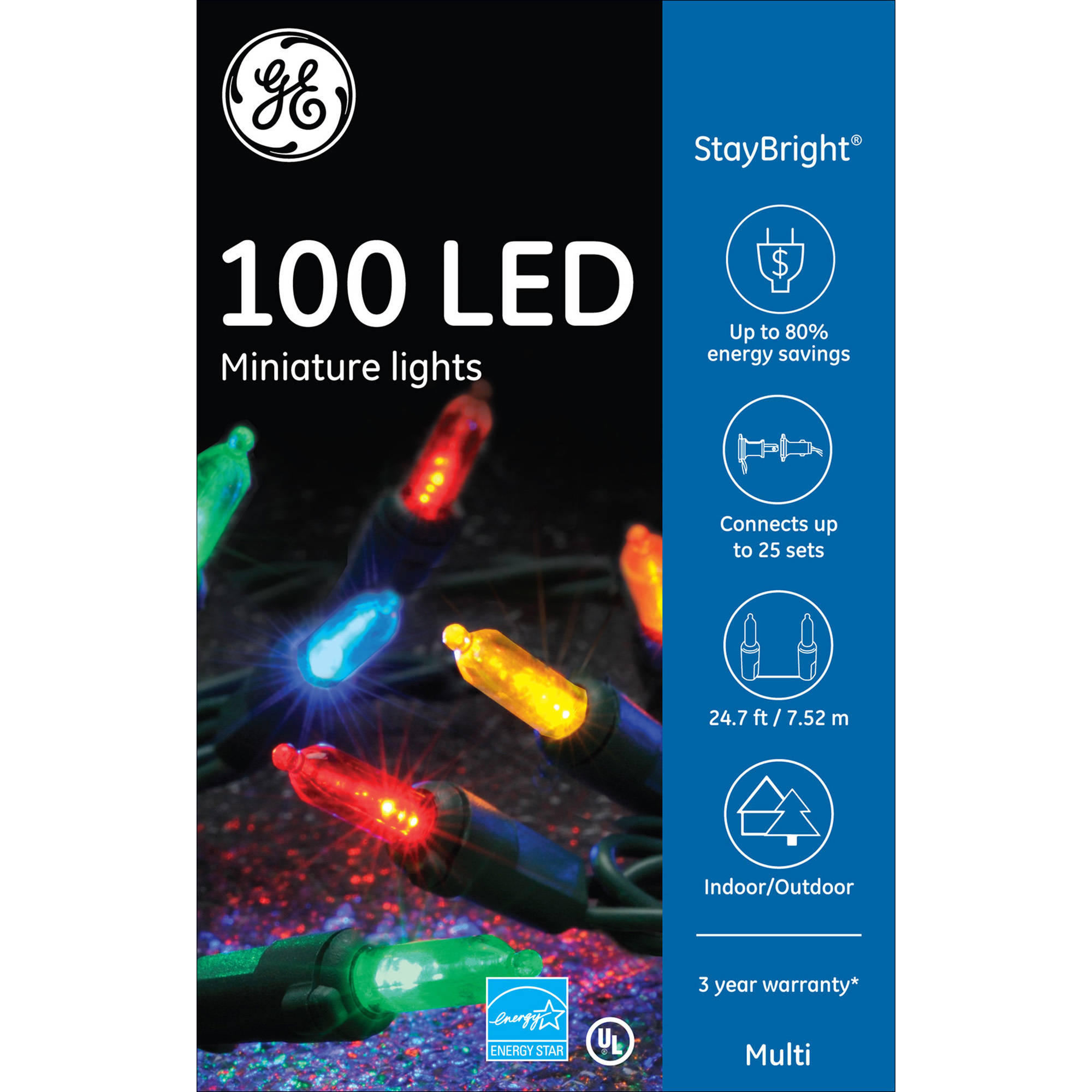 GE 100CT StayBright LED 5.5mm Miniature Colorite String Set, Multicolor