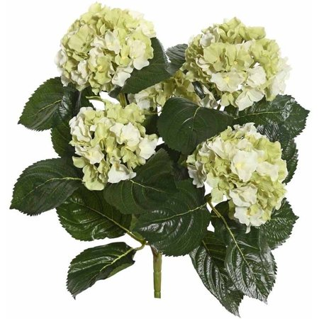 """Vickerman 17.5"""" Light Green Polyester Hydrangea Bush with 30 Leaves and 204 Flowers"""