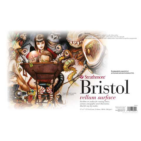 "Strathmore - Sequential Art Bristol Paper Pad - 500 Series - 11"" x 17"" - 2-Ply Plate"