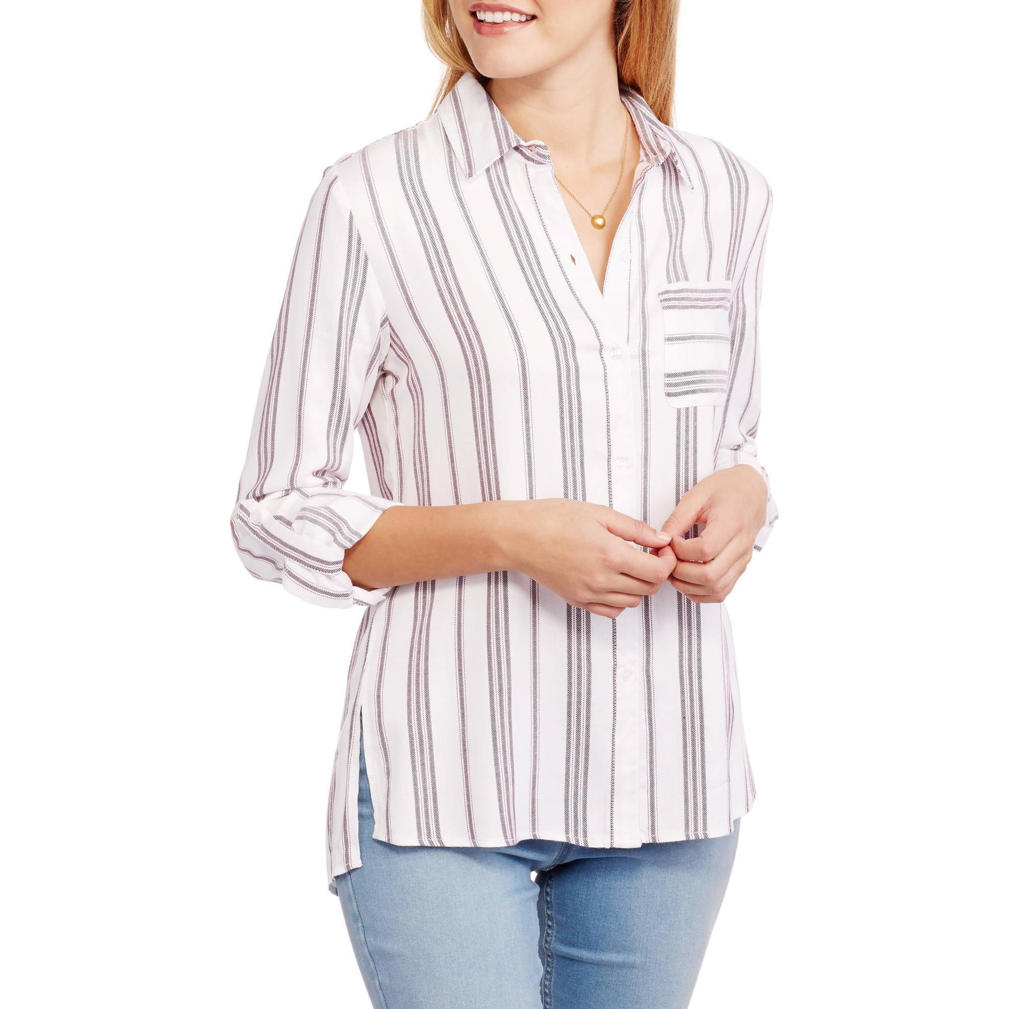 Heart N Crush Women's Side Splits Striped Woven Tunic Top