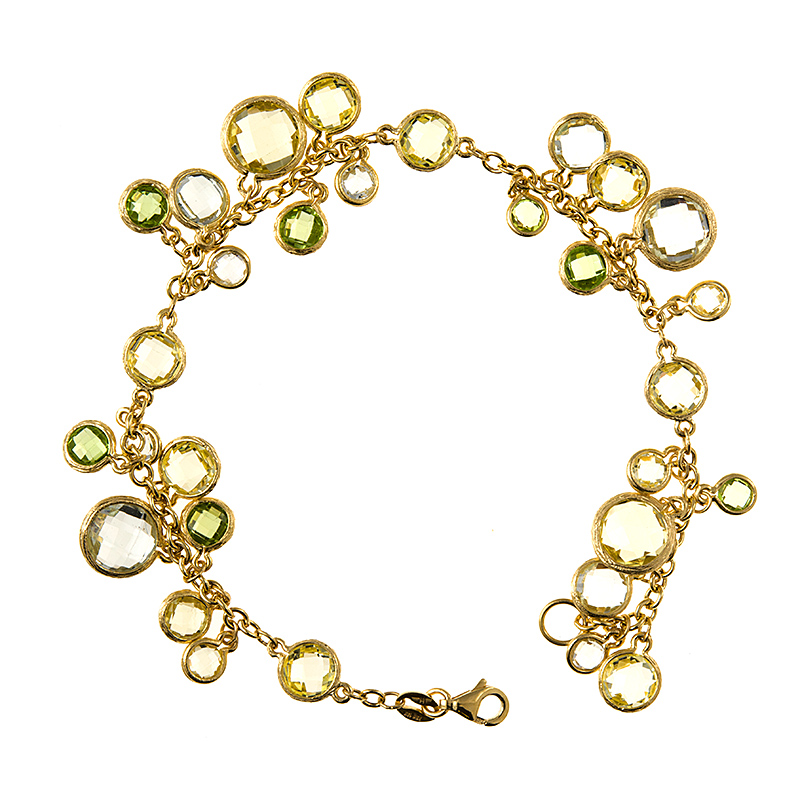 "18k Yellow Gold Green Amethyst Lemon Topaz Peridot Charm Chain Bracelet 7.5"" by"