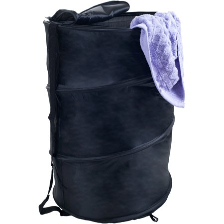 Pop Up Laundry Hamper-Collapsible Nylon Bag with Carrying Straps and Zipper for Dorm, Apartment by Lavish Home (Black) by Lavish Home ()