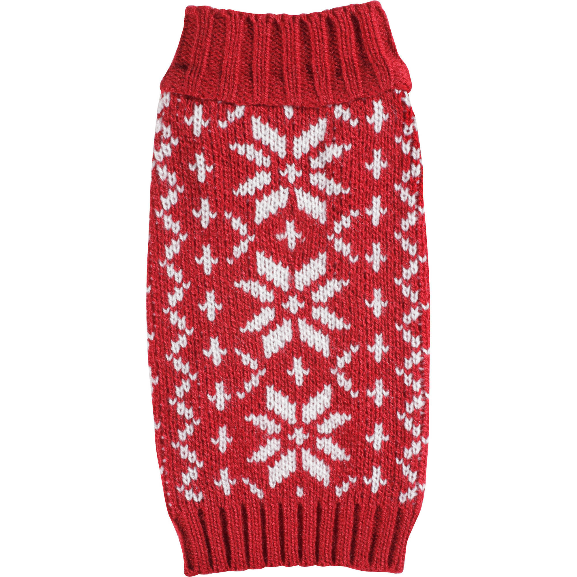 Cayre Group Mock Neck Dog Sweater, Red Snowflake Argyle, Multiple Sizes Available