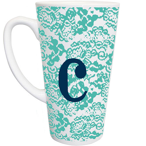 Personalized Blue Lace Latte Mug