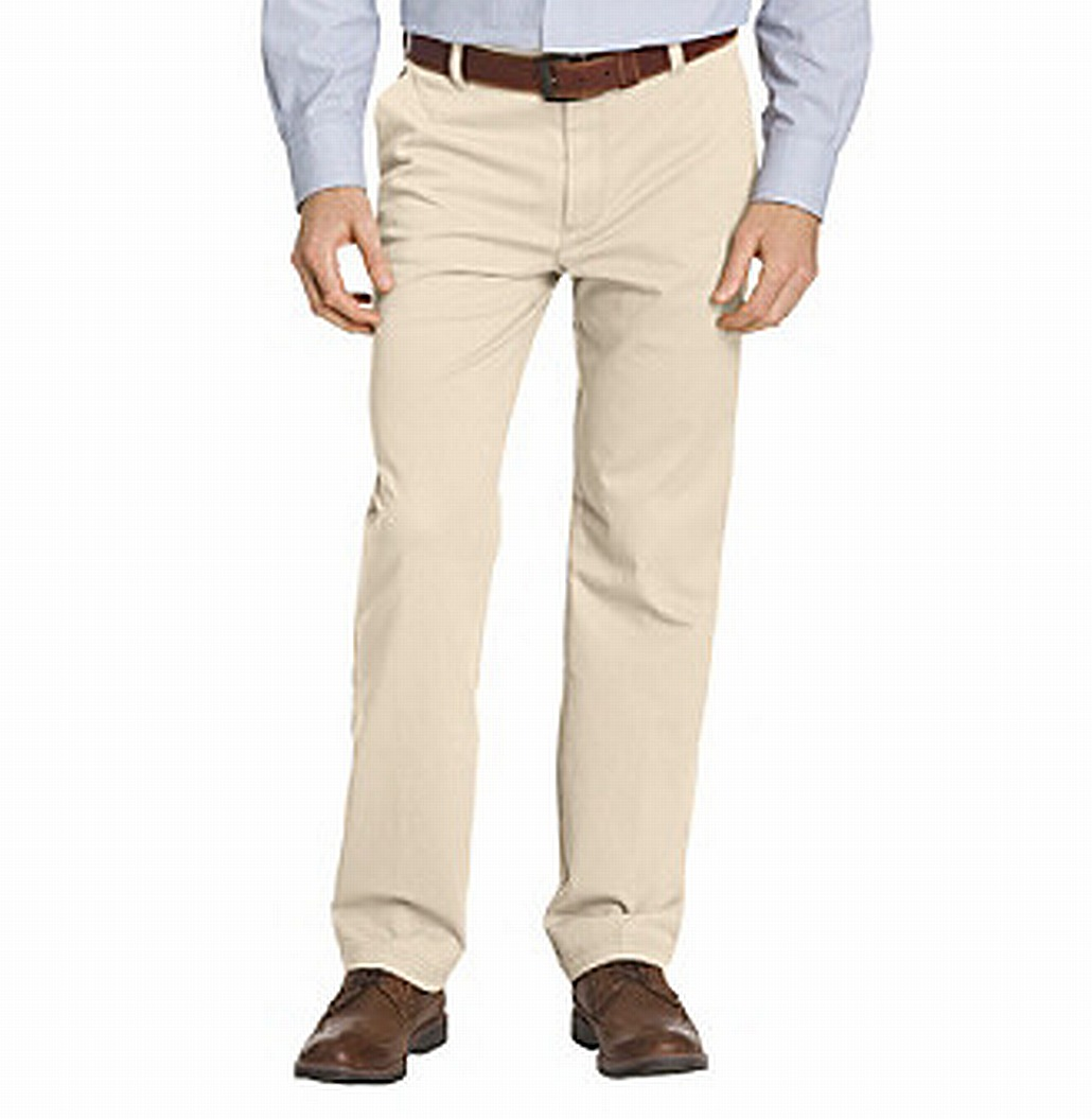 Howme Mens Light Weight Khaki Juniors Stretchy Plain-Front Pants