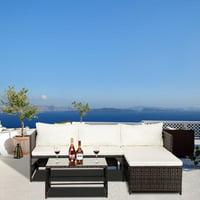 Zimtown 3 Piece Outdoor Chat Set Seat Bearing Capacity 330lbs Wicker